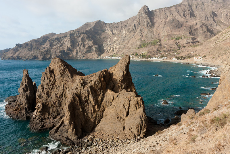 Towering arid mountains, cliffs and small villages - all quite typical Bravan.<br /> <br /> Location: Fajá d' Ãgua village, Brava island, Cape Verde<br /> <br /> Lens used: Canon 17-55mm f2.8 IS