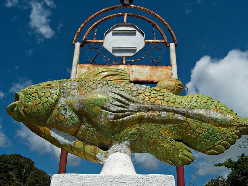 Coelacanth traffic sign, Moroni, Grande Comore