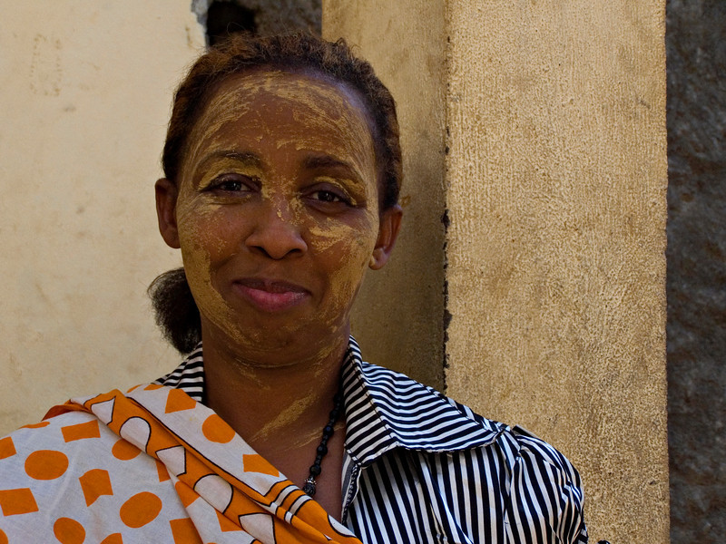 Woman, Domoni, Anjouan.  This was the only woman who let me photograph her while she was wearing sandalwood paste.