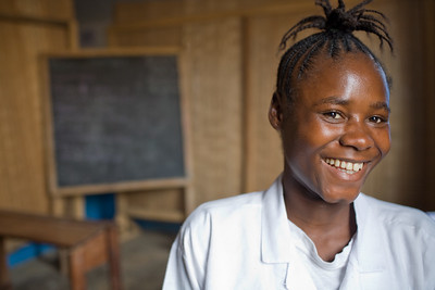 Young liberian girl in a classroom in Liberia