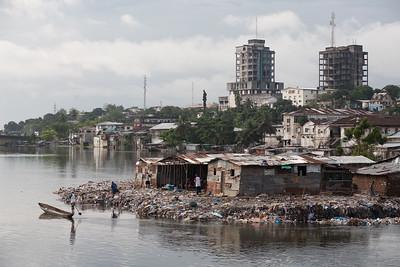 Monrovia shoreline covered in garbage