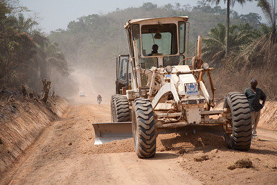 Road grader operated buy the United Nations to smooth the Voinjama -Foya road. January 22, 2007, Voinjama, Lofa County,  Liberia
