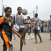 MONROVIA - LIBERIA , MARCH 1 2007 : Football (soccer) games in the Monrovian community of Westpoint, organized by NGO Right to Play.   (Photos by : Christopher Herwig )