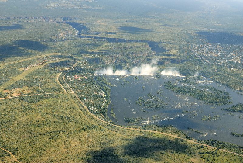 "Our first sight of the ""smoke that thunders"" from the plane on approach to Livingstone, Zambia"