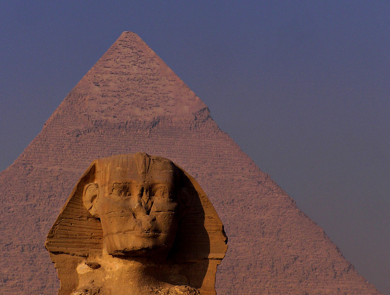 Sphinx and Khafre Pyramid, Giza.  Decades of waiting, all worth it.