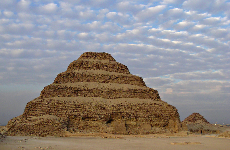 Step pyramid, Saqqara.  This is the Pyramid of Djoser, built over 4,500 years ago and considered the first pyramid.
