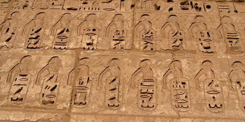 Hieroglyphs, Pylon, Medinat Habu, Luxor