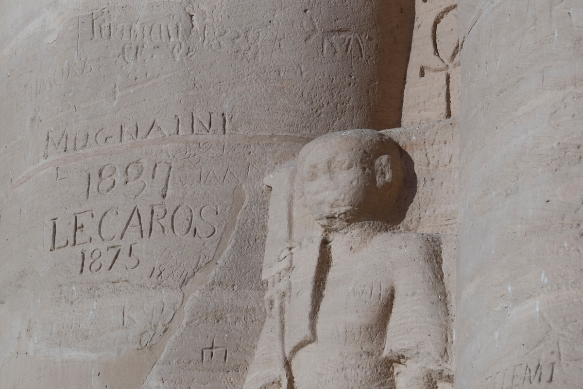 British graffiti at Abu Simbel, Egypt