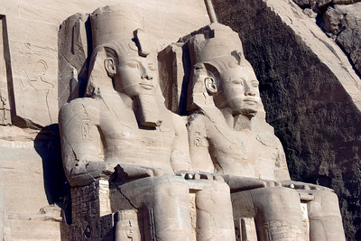 Egyptian Pharaoh carvings outside the Abu Simbel temple - Egypt