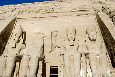 Relief carving of Egyptian Pharaoh at entrance to Abu Simbel - Egypt