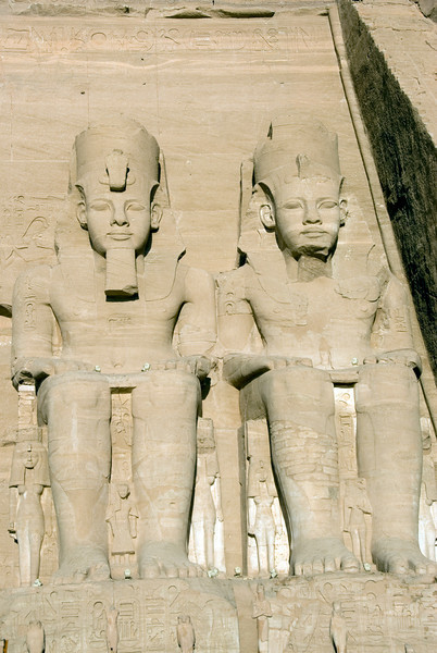 Front view of the Egyptian Pharaoh carvings at Abu Simbel - Egypt