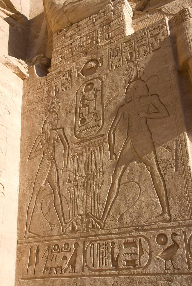 Ancient hieroglyphics at Abu Simbel in Egypt