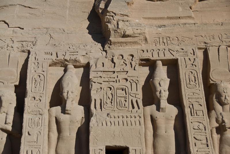 Closer look at Egyptian Pharaoh carvings at Abu Simbel - Egypt