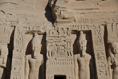 Closer look at Egyptian Pharaoh carvings at Abu Simbel - Egypt