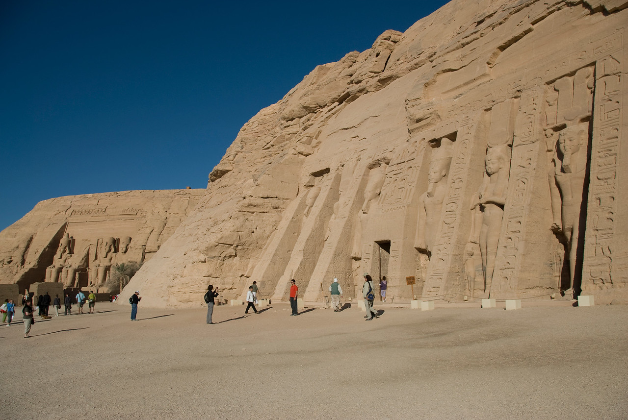 Tourists outside the Abu Simbel temple in Egypt
