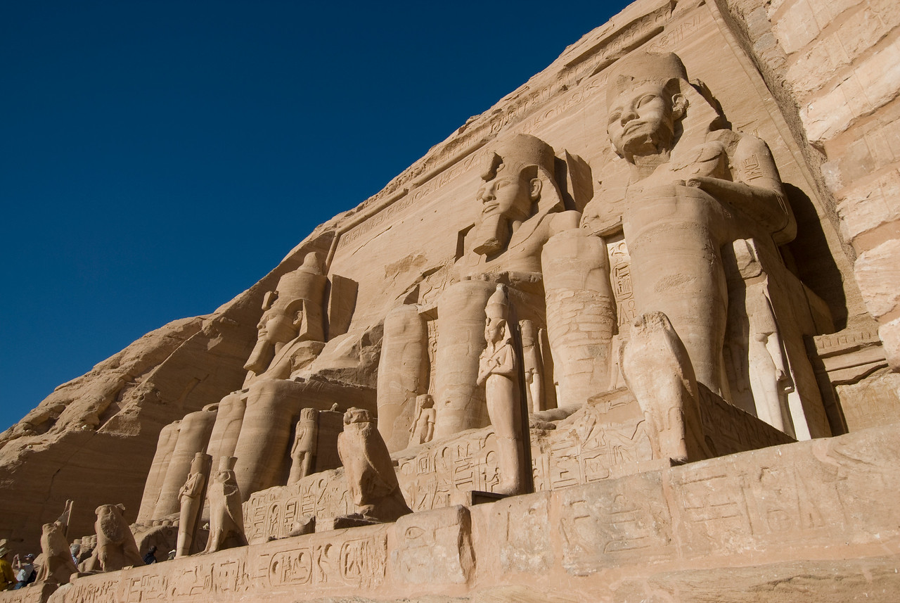 The relief carvings at the Abu Simbel temple - Egypt