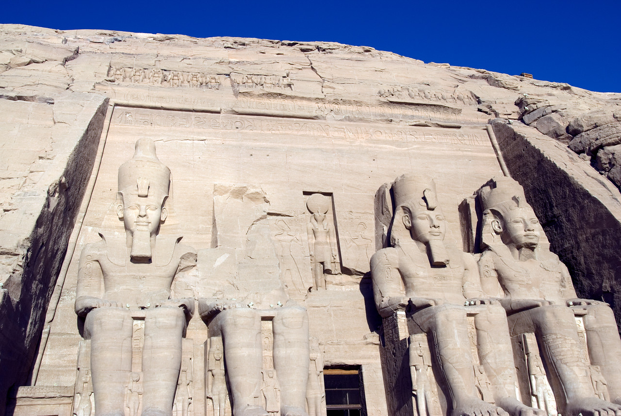 Large Egyptian Pharaoh relief upon entrance to Abu Simbel - Egypt