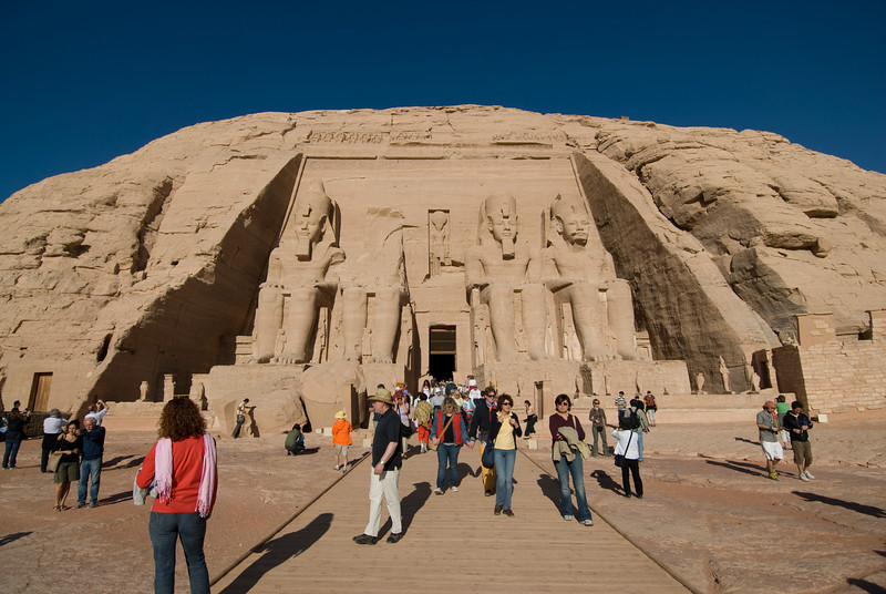 Tourists checking out the Abu Simbel temple in Egypt