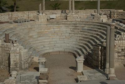 Balcony stairs and pillars at Roman Theater - Alexandria, Egypt