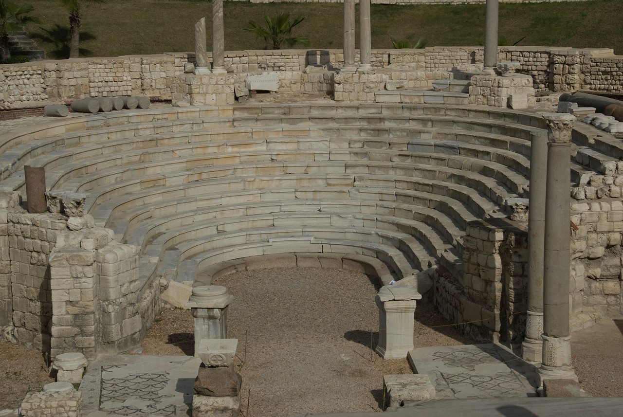Balcony stairs and pillars at Roman Theater - Alexandria, Egypt