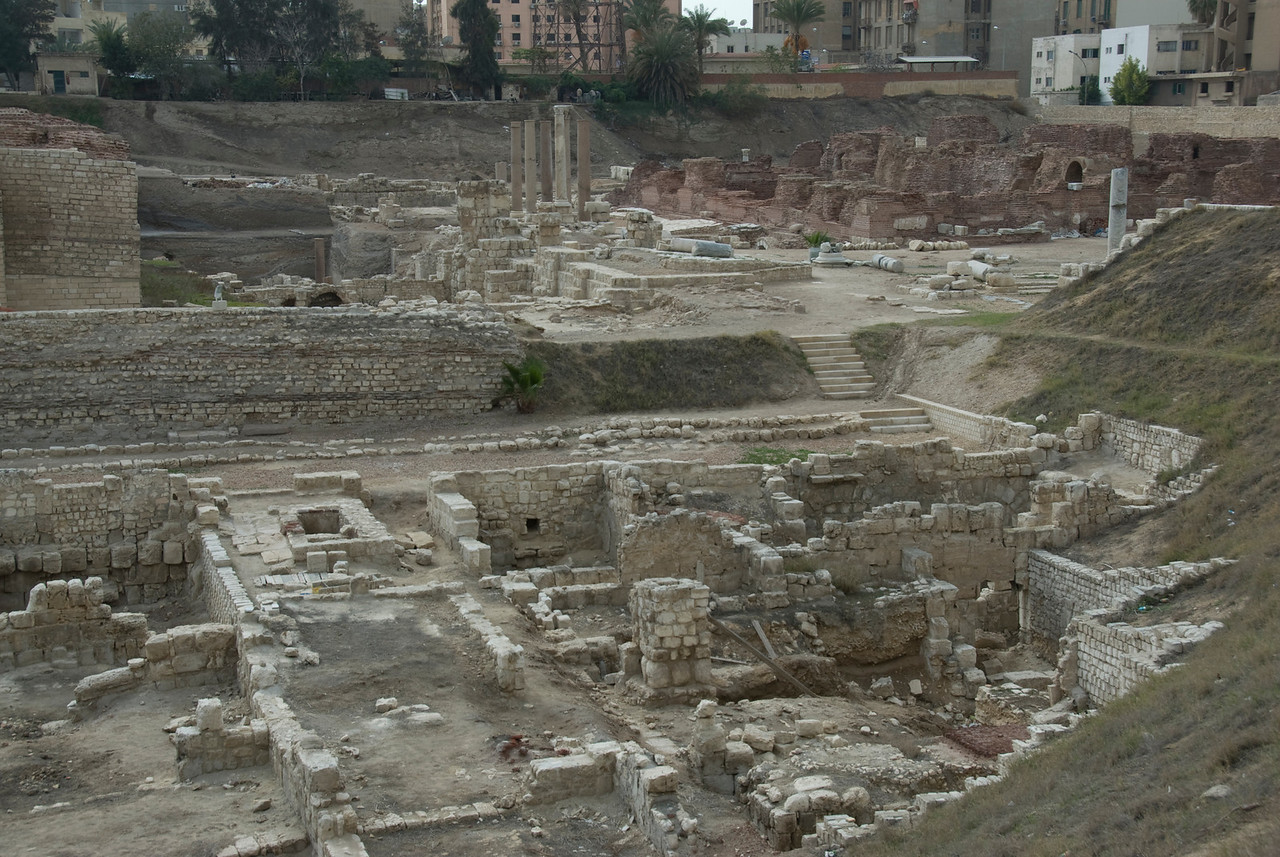 Wide shot of the ruins at Roman Theater - Alexandria, Egypt