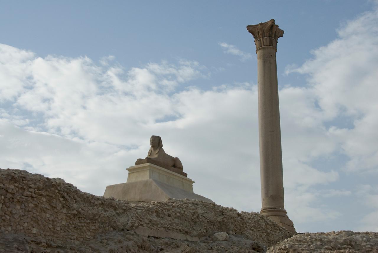Pompey's Pillar and Sphinx - Alexandria, Egypt