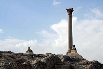 Pompey's Pillar against clear sky in Alexandria, Egypt