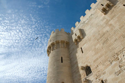 Looking up the turret on Fort Qataby - Alexandria, Egypt