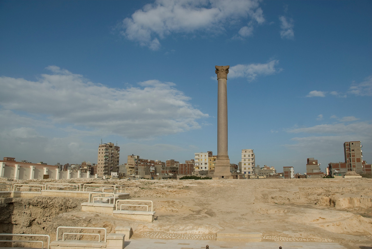 Pompey's Pillar in the middle of ruins - Alexandria, Egypt