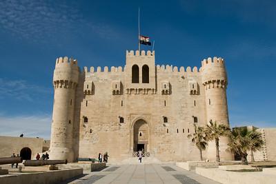 National Egyptial flag waving atop Fort Qataby - Alexandria, Egypt