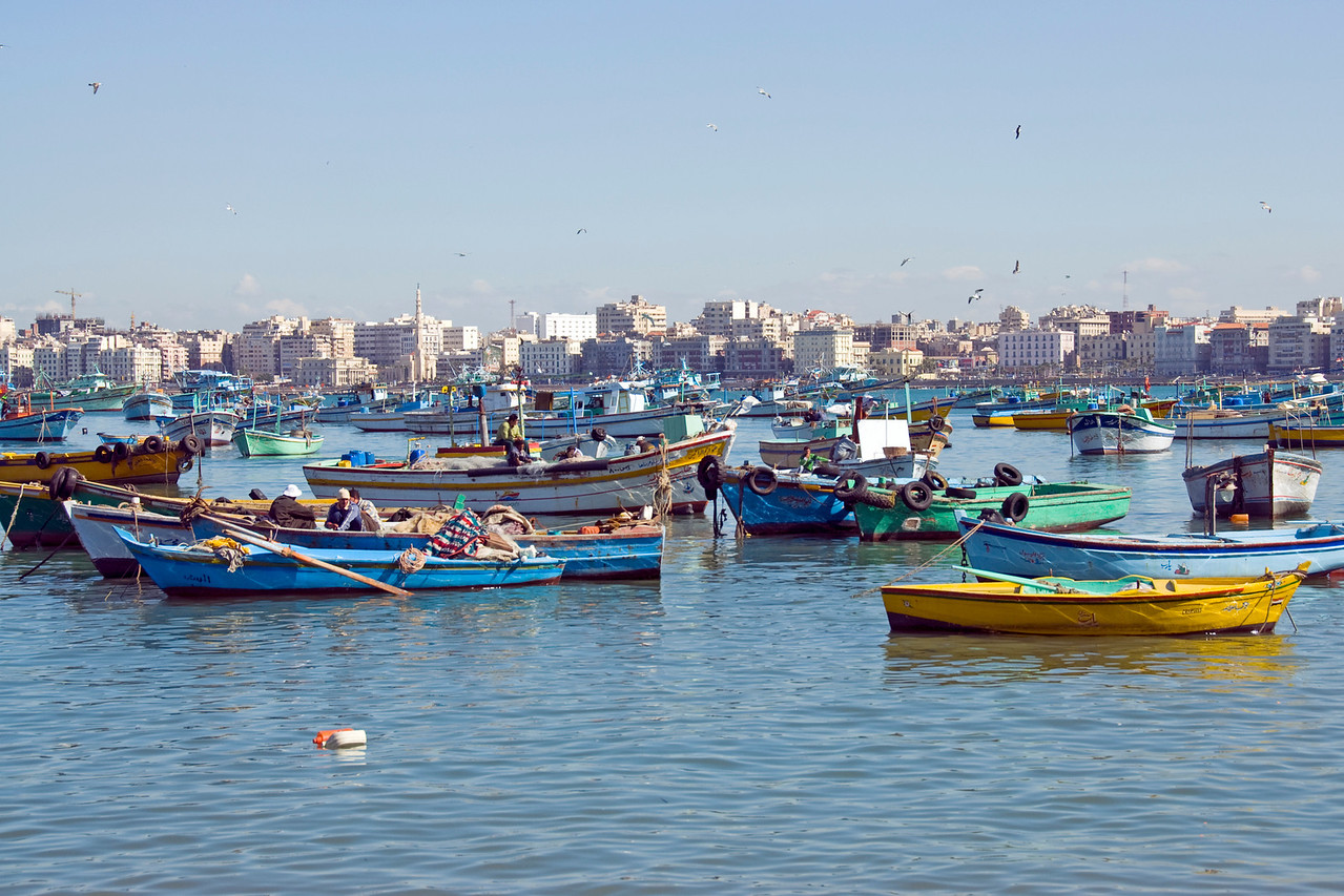 Fishing boats in harbor - Alexandria, Egypt