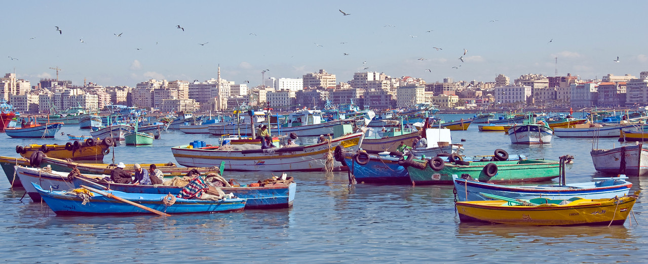 Panoramic shot of boats in Harbor - Alexandria, Egypt