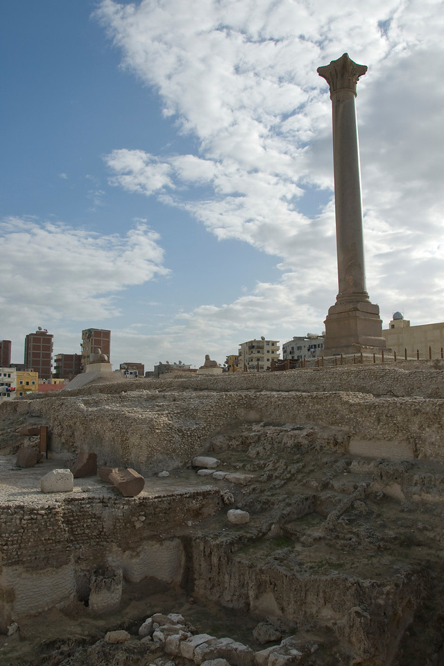 Pompey's Pillar towering above the ruins in Alexandria, Egypt