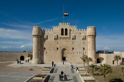 The Egyptian national flag waving atop Fort Qataby - Alexandria, Egypt