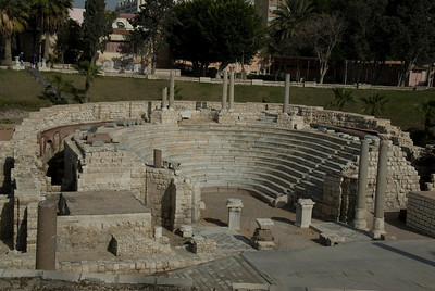 The ruins of balcony stairs at Roman Theater - Alexandria, Egypt
