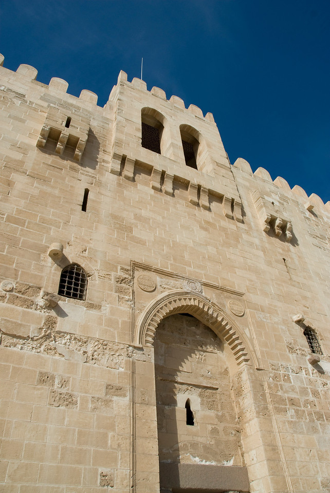 Close look at architectural details of Fort Qataby - Alexandria, Egypt