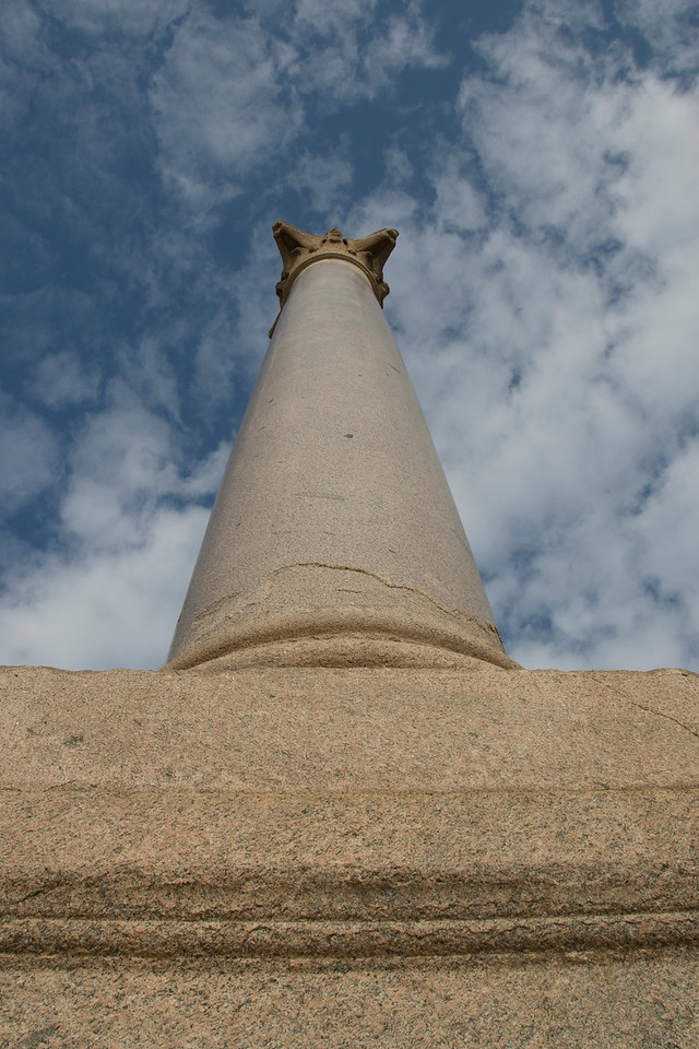 Looking up the Pompey's Pillar - Alexandria, Egypt