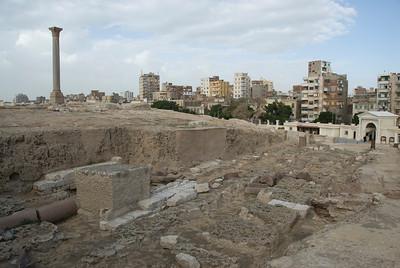 The ruins of Pompey's Pillar - Alexandria, Egypt