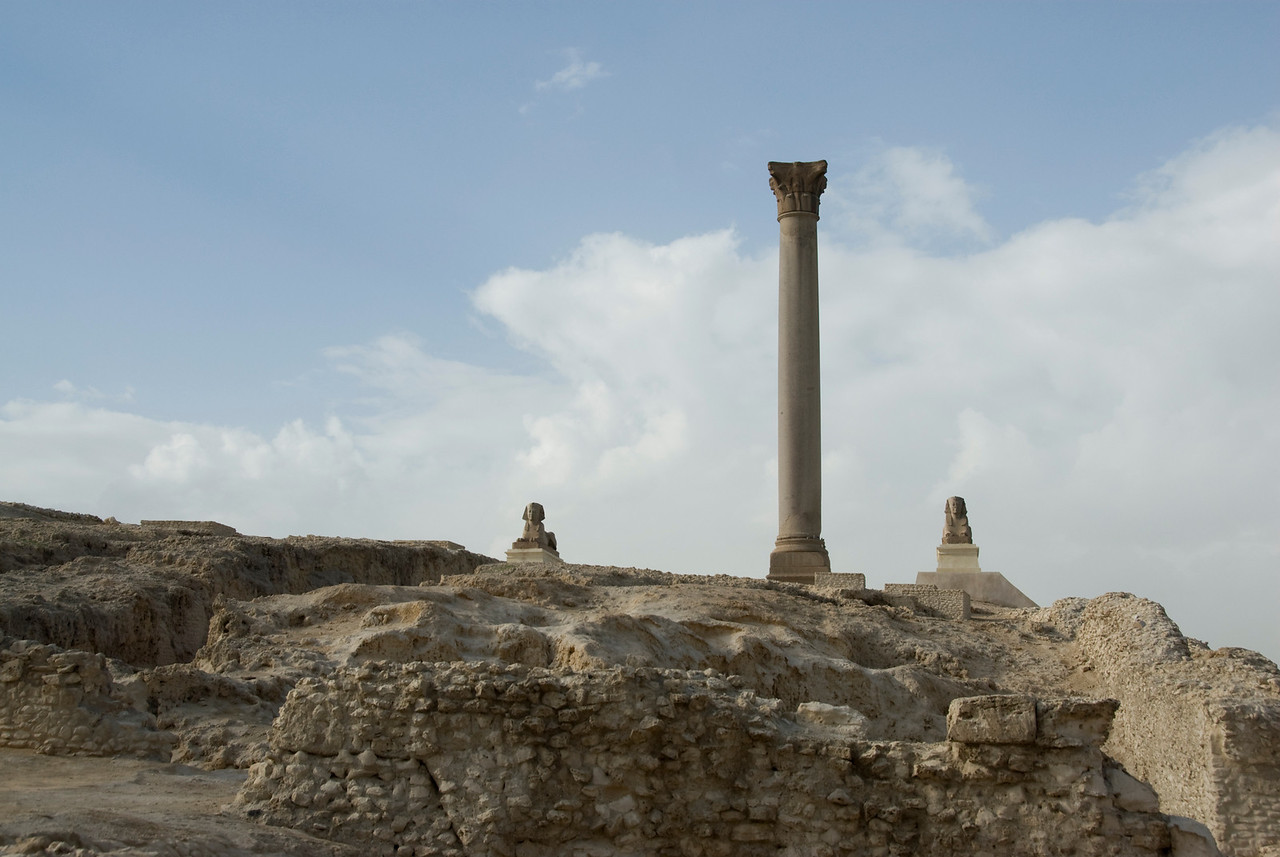 Pompey's Pillar in the midst of ruins - Alexandria, Egypt