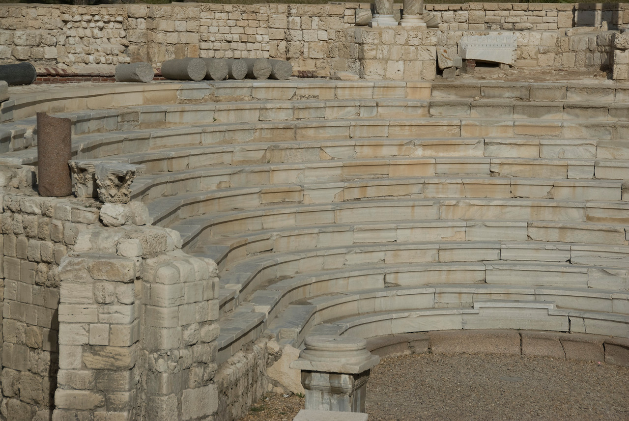 Close up of stairs at Roman Theater - Alexandria, Egypt