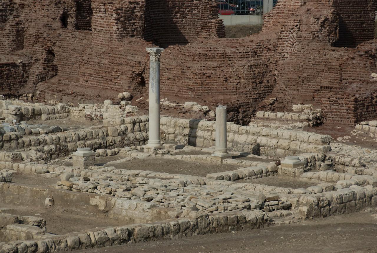 Pillars amidst ruins in Roman Theater - Alexandria, Egypt