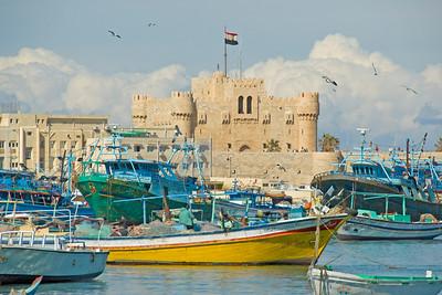 Boats outside Fort Qataby - Alexandria, Egypt