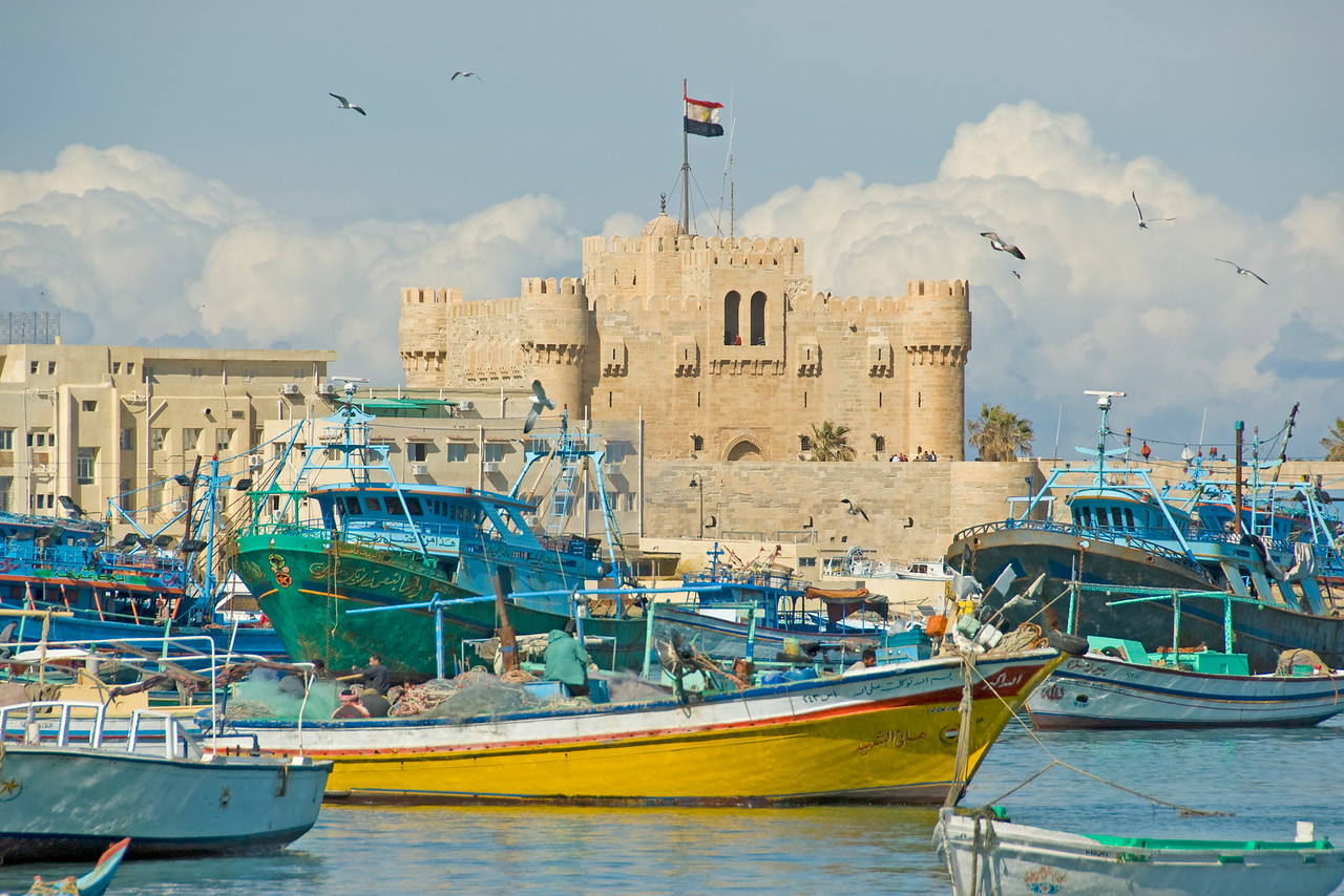 Boats outside Fort Qataby - Alexandria, Egypt