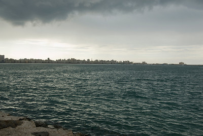 Heavy storm clouds over harbor front - Alexandria, Egypt