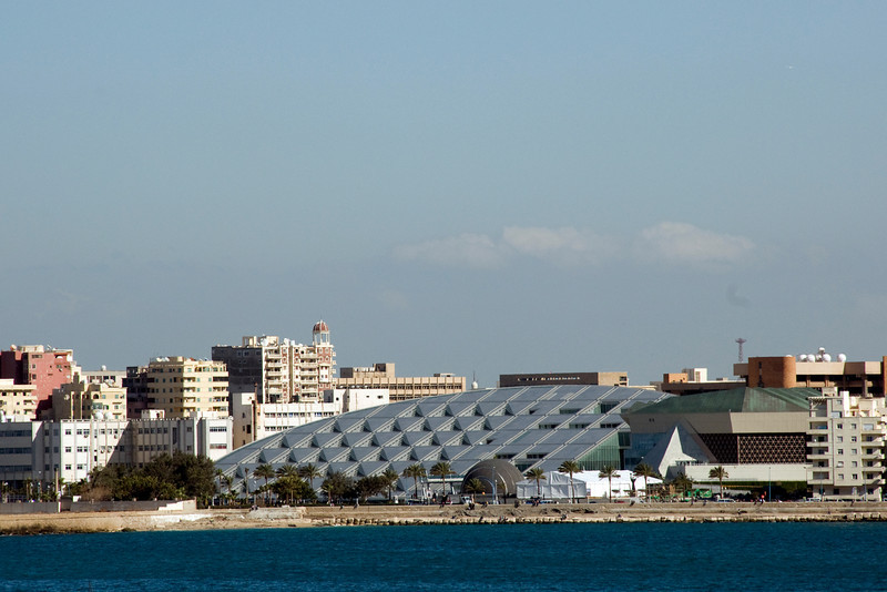 View of the Alexanderia Library from harbor  - Alexandria, Egypt