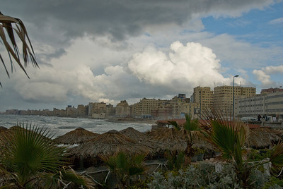 Storm clouds above harbor front in Alexandria, Egypt