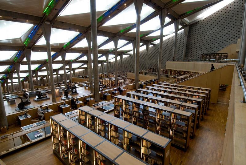 Line of book shelves inside Alexander Library - Alexandria, Egypt