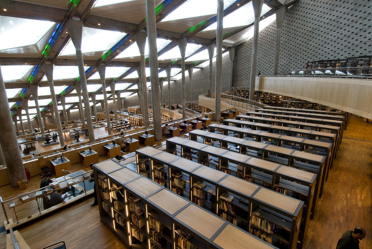 Wide shot inside of the Alexandria Library  - Alexander, Egypt