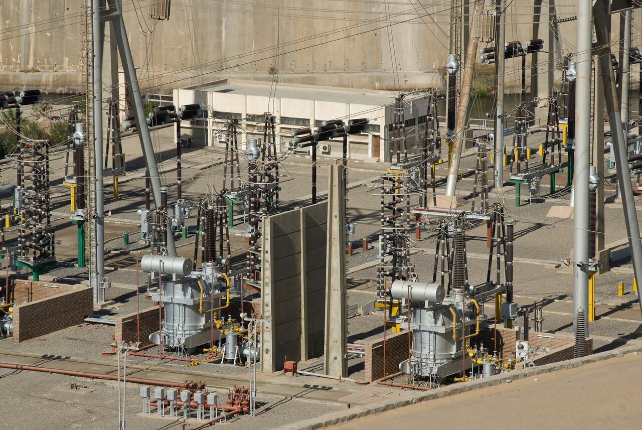 Electrical infrastructure near Aswan High Dam, Egypt