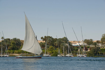 Feluccas without sail on the riverbank - Aswan, Egypt